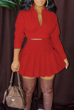 Red Casual Solid Bandage Split Joint Fold V Neck Long Sleeve Two Pieces