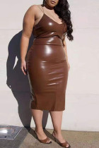 Brown Sexy Plus Size Solid Backless Slit Spaghetti Strap Sleeveless Dress