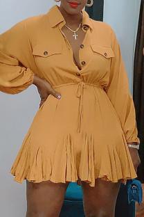 Khaki Fashion Casual Solid Basic Turndown Collar Long Sleeve Dresses