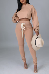 Brown Fashion Casual Solid Frenulum Backless Hooded Collar Long Sleeve Two Pieces