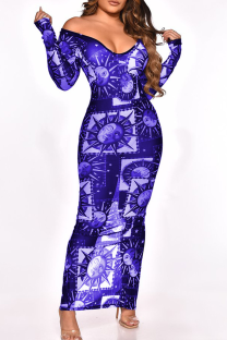 Blue Sexy Print See-through High Opening Off the Shoulder Pencil Skirt Dresses