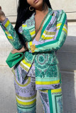 Green Yellow Casual Print Split Joint Buttons Turn-back Collar Long Sleeve Two Pieces
