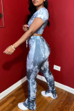 Grey Fashion Casual Print Tie Dye Fold V Neck Long Sleeve Two Pieces