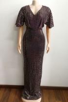 Gold Elegant Solid Sequins Split Joint Hot Drill V Neck Evening Dress Dresses