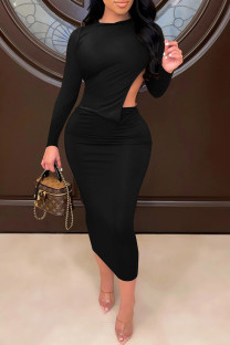 Black Sexy Solid Split Joint Backless O Neck One Step Skirt Dresses