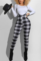 White Daily Leopard O Neck Long Sleeve Two Pieces