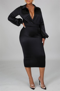 Black Fashion Casual Solid Basic Turndown Collar Long Sleeve Two Pieces