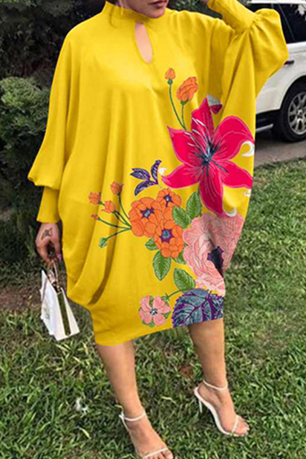 Yellow Fashion Print Hollowed Out Half A Turtleneck Long Sleeve Plus Size Dresses