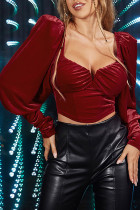 Burgundy Fashion Sexy Solid Split Joint V Neck Tops