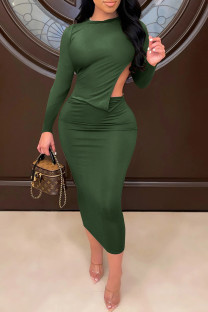 Army Green Sexy Solid Split Joint Backless O Neck One Step Skirt Dresses
