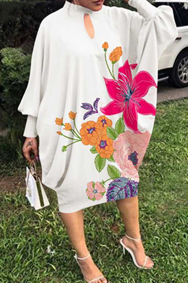 White Fashion Print Hollowed Out Half A Turtleneck Long Sleeve Plus Size Dresses