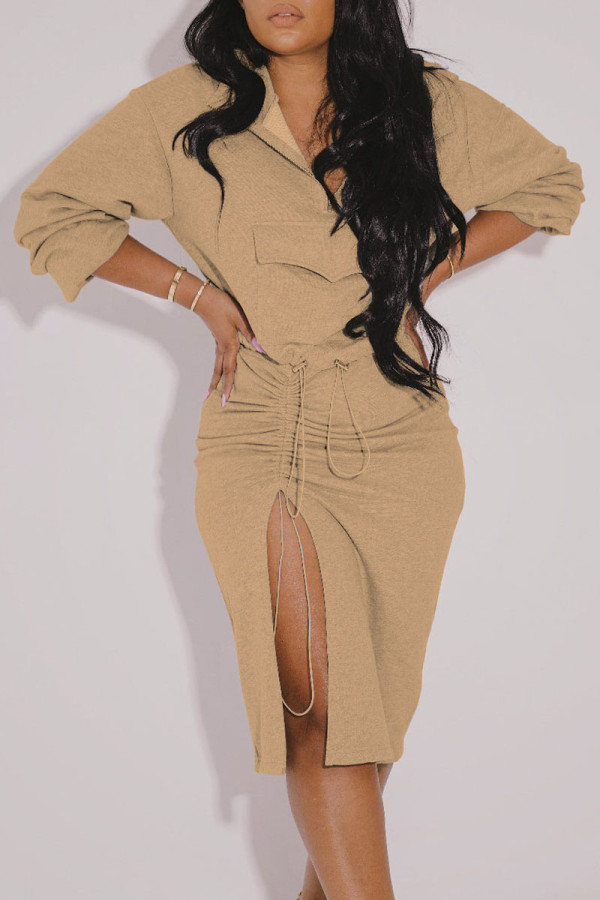 Khaki Casual Solid Split Joint Draw String Pocket Slit Fold Zipper Collar Long Sleeve Two Pieces