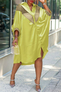 Yellow Casual Print Split Joint Buckle Turndown Collar Shirt Dress Plus Size Dresses