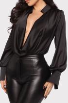 Black Fashion Casual Solid Basic V Neck Tops
