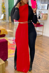 Red Fashion Casual Solid Slit Turtleneck Sleeveless Dress (Without Waist Chain)