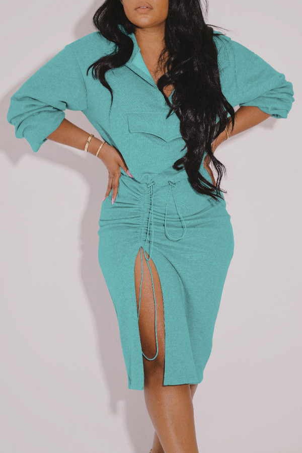 Cyan Casual Solid Split Joint Draw String Pocket Slit Fold Zipper Collar Long Sleeve Two Pieces