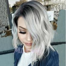 Grey Sexy Casual Gradual Change Split Joint Wigs