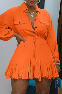 Orange Fashion Casual Solid Basic Turndown Collar Long Sleeve Dresses