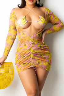 Yellow Sexy Print Split Joint V Neck Long Sleeve Two Pieces