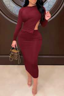 Burgundy Sexy Solid Split Joint Backless O Neck One Step Skirt Dresses