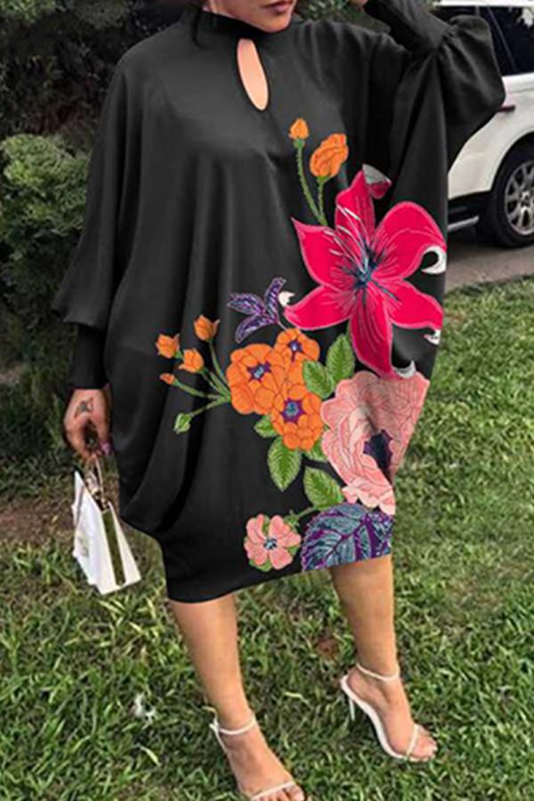 Black Fashion Print Hollowed Out Half A Turtleneck Long Sleeve Plus Size Dresses