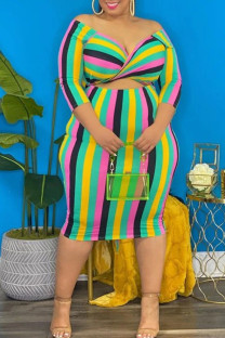 Pink Fashion Sexy Striped Split Joint V Neck One Step Skirt Plus Size Dresses