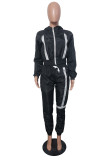 Black Fashion Casual Patchwork Zipper Hooded Collar Long Sleeve Two Pieces