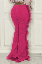 Rose Red Fashion Solid Split Joint Feathers Boot Cut High Waist Speaker Solid Color Bottoms