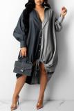 Black Fashion Casual Patchwork Basic Turndown Collar Long Sleeve Dresses