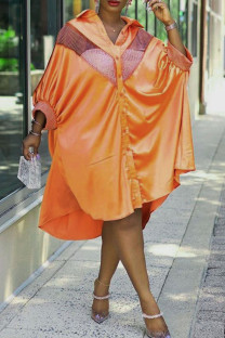 Tangerine Casual Print Split Joint Buckle Turndown Collar Shirt Dress Plus Size Dresses