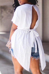 White Fashion Street Solid Backless O Neck Tops