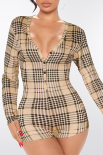Yellow Fashion Casual Plaid Split Joint V Neck Jumpsuits