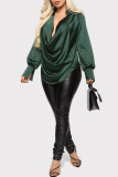 Green Fashion Casual Solid Basic V Neck Tops