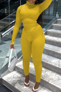 Yellow Fashion Casual Solid Basic Turtleneck Long Sleeve Two Pieces