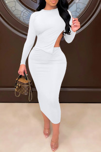 White Sexy Solid Split Joint Backless O Neck One Step Skirt Dresses