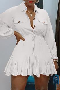 White Fashion Casual Solid Basic Turndown Collar Long Sleeve Dresses