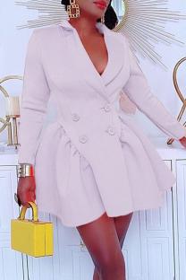 White Casual Solid Split Joint Turndown Collar Cake Skirt Dresses