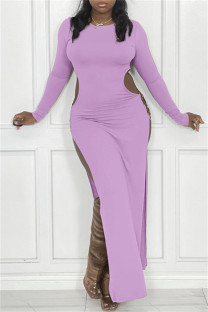 Light Purple Sexy Casual Solid Hollowed Out Slit O Neck Long Sleeve Dresses