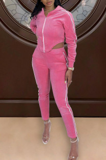 Pink Casual Solid Split Joint Asymmetrical Hooded Collar Long Sleeve Two Pieces