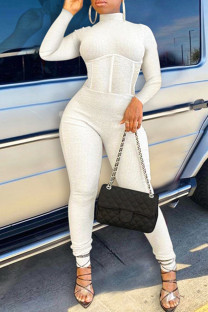 White Sexy Casual Solid Backless Turtleneck Skinny Jumpsuits