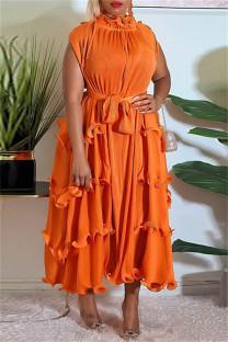 Orange Fashion Casual Solid Split Joint Off the Shoulder Short Sleeve Dress