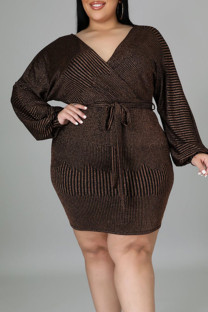 Gold Sexy Solid Bandage Split Joint V Neck One Step Skirt Plus Size Dresses