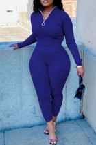 Blue Fashion Casual Solid Basic Zipper Collar Long Sleeve Two Pieces