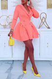 Pink Casual Solid Split Joint Turndown Collar Cake Skirt Dresses