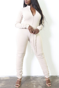 White Casual Solid Split Joint Fold Zipper Collar Skinny Jumpsuits