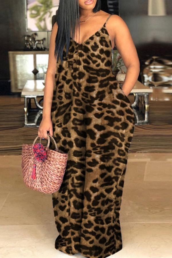 Leopard Print Sexy Casual Plus Size Leopard Printing Spaghetti Strap Long Dress
