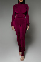 Dark Purple Fashion Casual Solid Fold Turtleneck Long Sleeve Two Pieces