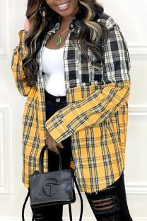 Yellow Fashion Casual Plaid Print Split Joint Turndown Collar Tops