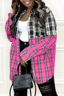 Rose Red Fashion Casual Plaid Print Split Joint Turndown Collar Tops