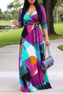 Multi-color Fashion Casual Print Bandage V Neck Long Sleeve Dresses